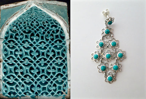 Beautiful and unique, long, flexible, linked floral units Samarkand turquoise earrings