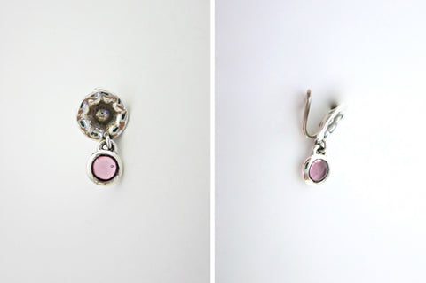 Quirky hammer finish pink stone drop nose pin (PB-013-NP)  Nose pin Sterling silver handcrafted jewellery. 925 pure silver jewellery. Earrings, nose pins, rings, necklaces, cufflinks, pendants, jhumkas, gold plated, bidri, gemstone jewellery. Handmade in India, fair trade, artisan jewellery.