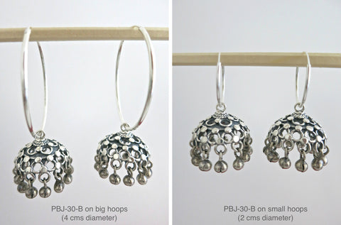 Elegant jali Jhumka bottoms with silver bead fringe (PBJ-30-B)  Earrings Sterling silver handcrafted jewellery. 925 pure silver jewellery. Earrings, nose pins, rings, necklaces, cufflinks, pendants, jhumkas, gold plated, bidri, gemstone jewellery. Handmade in India, fair trade, artisan jewellery.