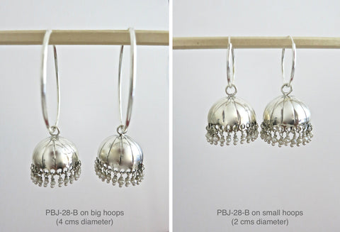 Simple'n'chic Jhumka bottoms (PBJ-28-B)  Earrings Sterling silver handcrafted jewellery. 925 pure silver jewellery. Earrings, nose pins, rings, necklaces, cufflinks, pendants, jhumkas, gold plated, bidri, gemstone jewellery. Handmade in India, fair trade, artisan jewellery.