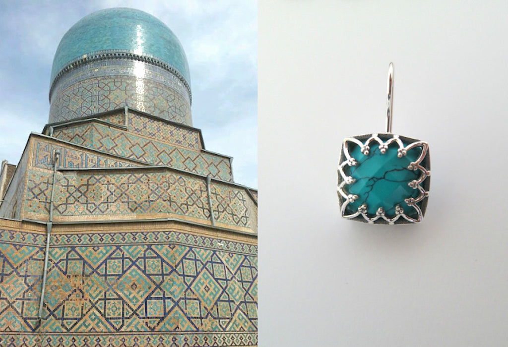 Chic Samarkand square facetted turquoise earrings (PBS-7239-ER) - Lai - 1