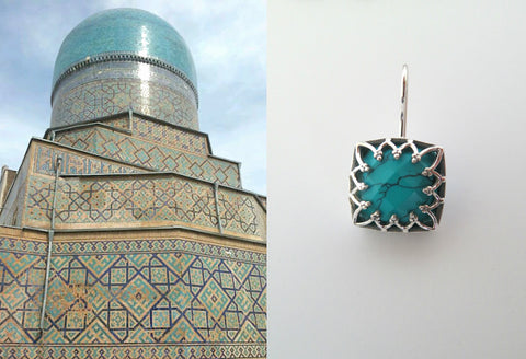 Chic Samarkand square facetted turquoise earrings (PBS-7239-ER)