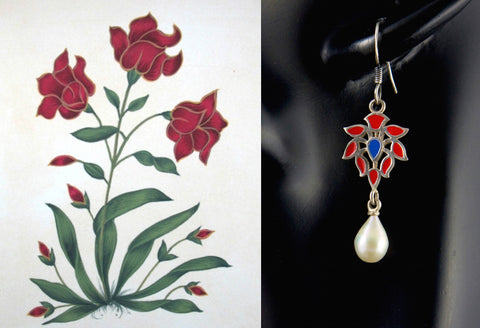 Elegant Mughal motif enamel pearl drop earrings (PB-1515-ER)