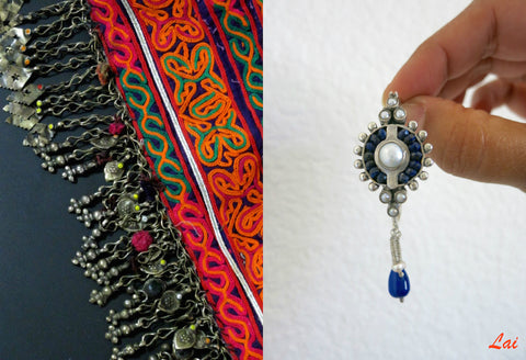 Exquisite, neo-tribal lapis and pearls oblong hoops