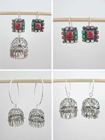 Magnificent, detachable, filigree jhumkas with square multi-color gemstone tops  Earrings Sterling silver handcrafted jewellery. 925 pure silver jewellery. Earrings, nose pins, rings, necklaces, cufflinks, pendants, jhumkas, gold plated, bidri, gemstone jewellery. Handmade in India, fair trade, artisan jewellery.