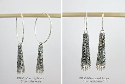 Stunning long Jhumka bottoms with wire work (PBJ-31-B)  Earrings Sterling silver handcrafted jewellery. 925 pure silver jewellery. Earrings, nose pins, rings, necklaces, cufflinks, pendants, jhumkas, gold plated, bidri, gemstone jewellery. Handmade in India, fair trade, artisan jewellery.