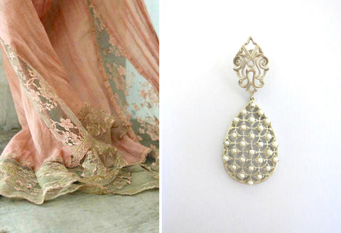 Glamorous, pearl jali drop earrings