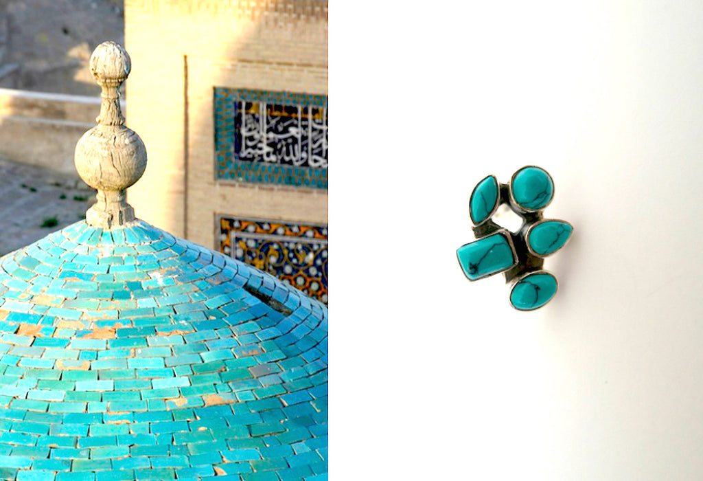 Dainty Samarkand cluster of turquoise studs (PBS-2504-ER) - Lai - 1