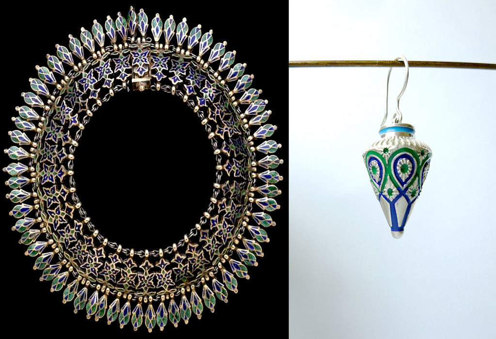 Elegant blue & green enamel Himachali conical drop earrings (PB-9535-ER)  Earrings Sterling silver handcrafted jewellery. 925 pure silver jewellery. Earrings, nose pins, rings, necklaces, cufflinks, pendants, jhumkas, gold plated, bidri, gemstone jewellery. Handmade in India, fair trade, artisan jewellery.