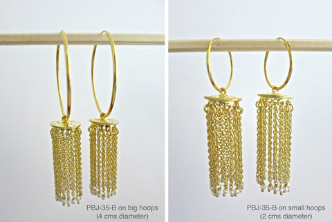 Gold plated cascading chains Jhumka bottoms (PBJ-35-B)  Earrings Sterling silver handcrafted jewellery. 925 pure silver jewellery. Earrings, nose pins, rings, necklaces, cufflinks, pendants, jhumkas, gold plated, bidri, gemstone jewellery. Handmade in India, fair trade, artisan jewellery.