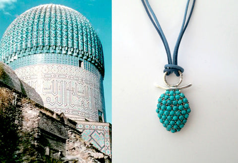 Whimsical & chic Samarkand turquoise pave cluster pendant (PBS-7060-P)