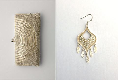 Gorgeous, pearl encrusted earrings with a fringe