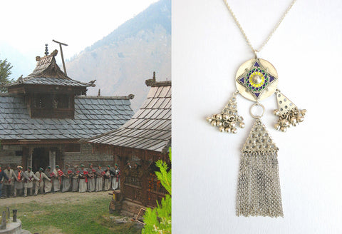 Exquisite, Himachali long pendant necklace with enamel work and fringe