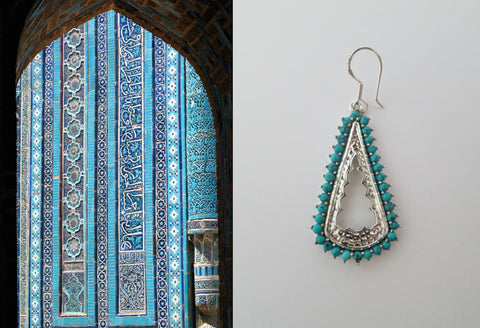 Arresting Samarkand long cutout earrings with turquoise edging (PBS-7247-ER)