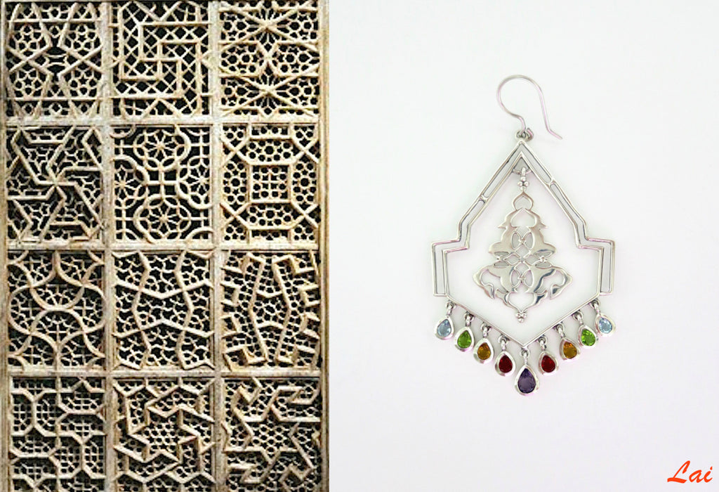 Stately geometric chandelier earrings with gemstone fringe (PB-9852-ER) - Lai - 1