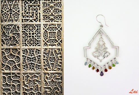 Stately geometric chandelier earrings with gemstone fringe (PB-9852-ER)