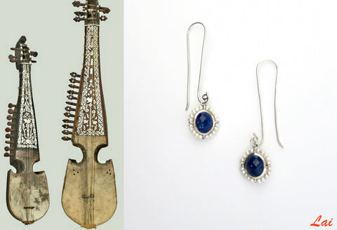 Ethereal, long hook lapis and pearl earrings