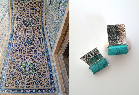 Exquisite, rectangular Samarkand jali pattern earrings with faceted turquoise