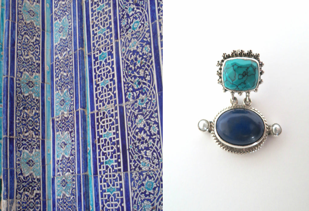 Gorgeous Samarkand facetted turquoise & lapis cabochon earrings (PBS-2507-ER)  Earrings Sterling silver handcrafted jewellery. 925 pure silver jewellery. Earrings, nose pins, rings, necklaces, cufflinks, pendants, jhumkas, gold plated, bidri, gemstone jewellery. Handmade in India, fair trade, artisan jewellery.