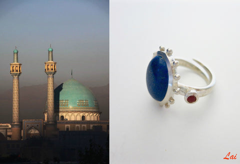 Classic cabochon Lapis ring with coral detailing (PB-9494-R)