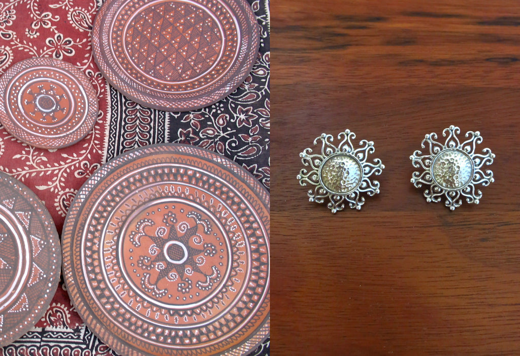 Beautiful Kutch inspired round sunburst hammer finish studs (PB-7636-ER)  Earrings Sterling silver handcrafted jewellery. 925 pure silver jewellery. Earrings, nose pins, rings, necklaces, cufflinks, pendants, jhumkas, gold plated, bidri, gemstone jewellery. Handmade in India, fair trade, artisan jewellery.