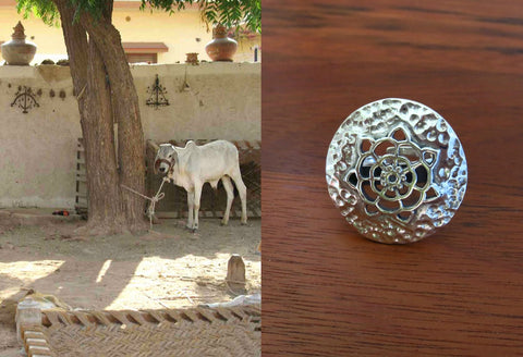 Elegant Kutch inspired round ring in hammer finish with cutouts (PB-7389-R)