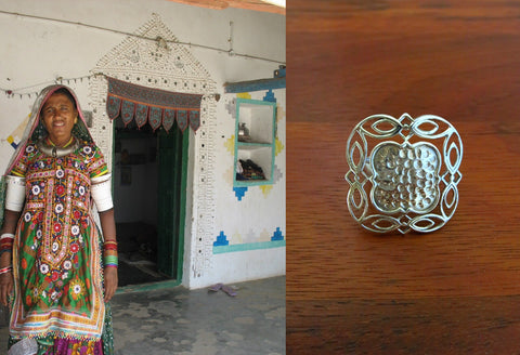 Unique, Kutch-inspired, square ring in hammer finish with wire-work frame