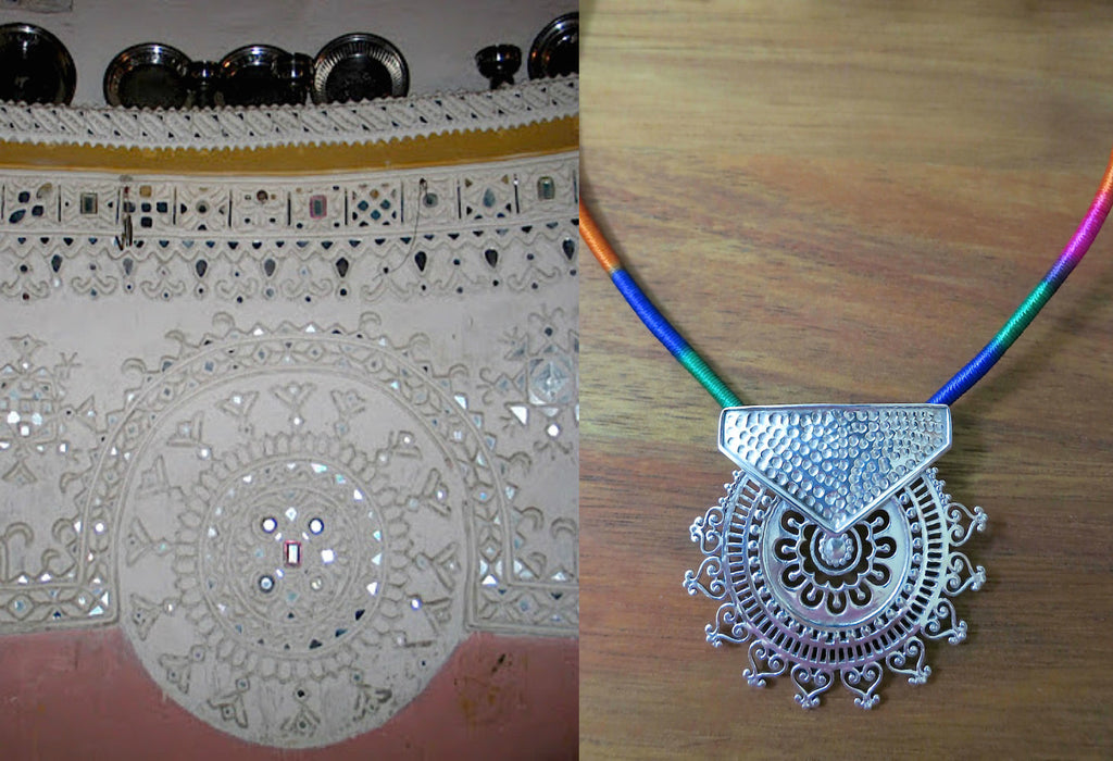 Exquisite Kutch inspired round sunburst jali pendant with hammer finish (PB-7108-P) -  - 1