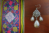 Stunning long Kutch inspired jali and hammer finish 3-drops earrings (PB-7397-ER) -  - 1