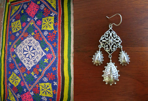 Stunning long Kutch inspired jali and hammer finish 3-drops earrings (PB-7397-ER)