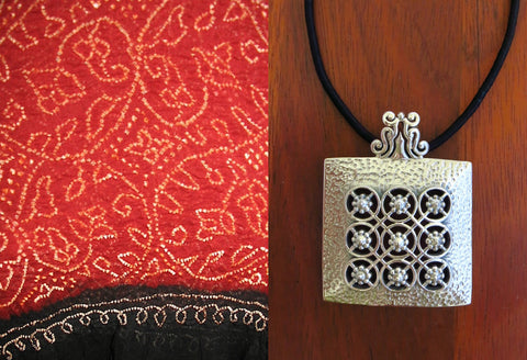 Stunning, Kutch-inspired, large hammer-finish square pendant with jali
