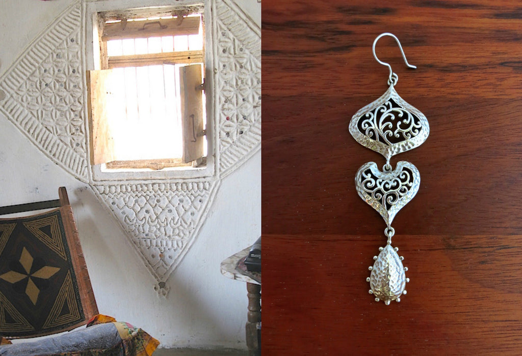 Exquisite long 3-tier Kutch inspired jali & hammer finish dangle earrings (PB-7396-ER)  Earrings Lai designer sterling silver 925 jewelry that is global culture inspired artisanal handcrafted handmade contemporary sustainable conscious fair trade online brand shop