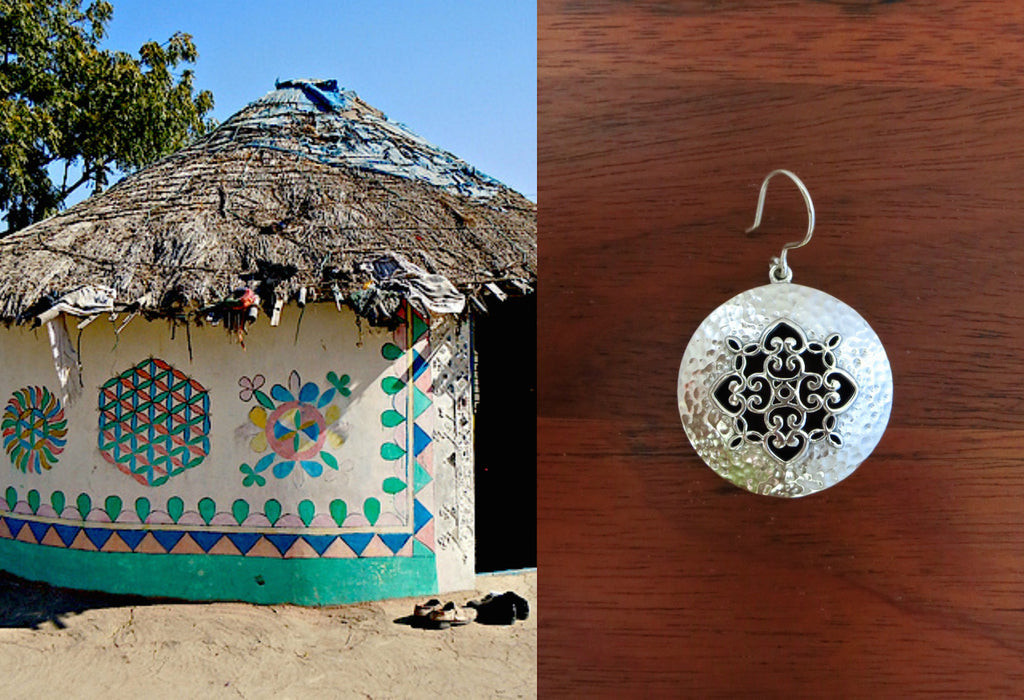 Beautiful Kutch inspired jali and hammer finish round earrings (PB-7398-ER)  Earrings Sterling silver handcrafted jewellery. 925 pure silver jewellery. Earrings, nose pins, rings, necklaces, cufflinks, pendants, jhumkas, gold plated, bidri, gemstone jewellery. Handmade in India, fair trade, artisan jewellery.