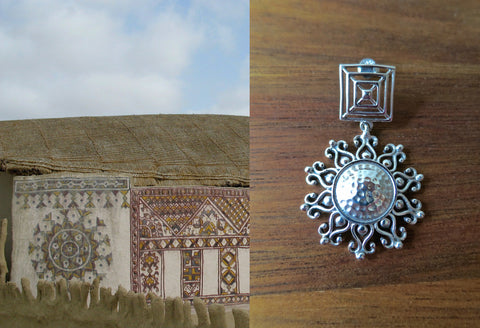 Gorgeous, Kutch-inspired, square top, dangling sunburst earrings