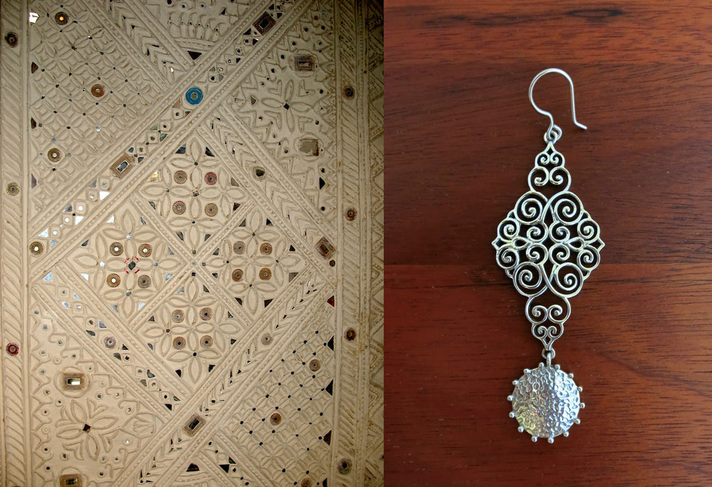 Ravishing Kutch inspired wire scroll pattern long earrings with a dangling round hammered disc (PB-7402-ER) - Lai - 1