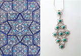 Chic Samarkand flexible linked floral units turquoise pendant (PBS-3744-P) - Lai - 1