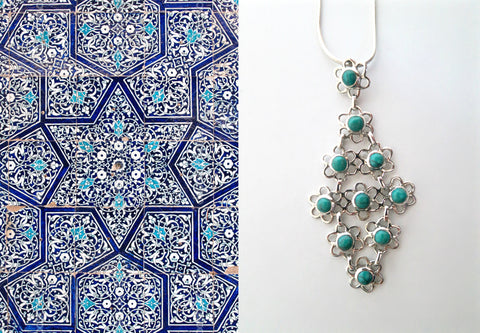 Chic and artistic, Samarkand linked floral units flexible turquoise pendant