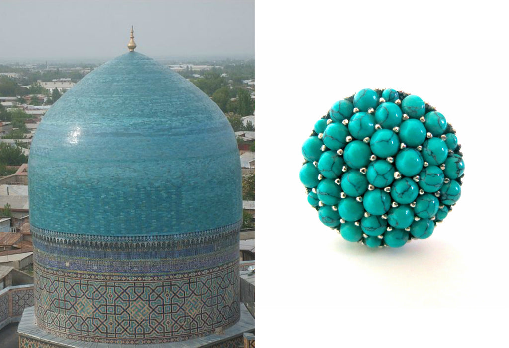 Gorgeous Samarkand round turquoise pave cluster ring (PBS-7311-R) -  - 1