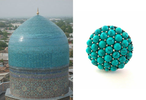 Gorgeous Samarkand round turquoise pave cluster ring (PBS-7311-R)