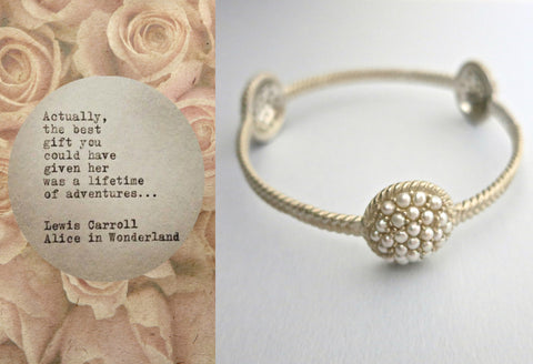 Stunning, pearls-encrusted, three domes bangle