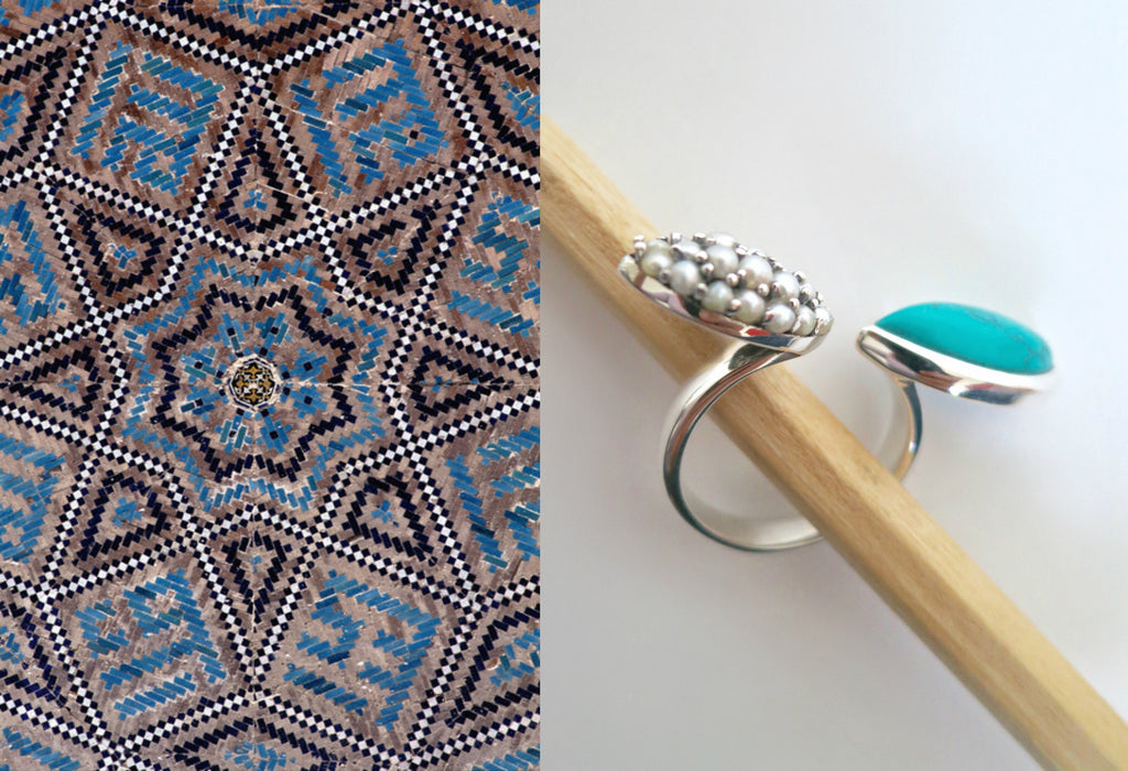 Chic Samarkand turquoise & pave seed pearls open ring (PBS-7310-R) -  - 1