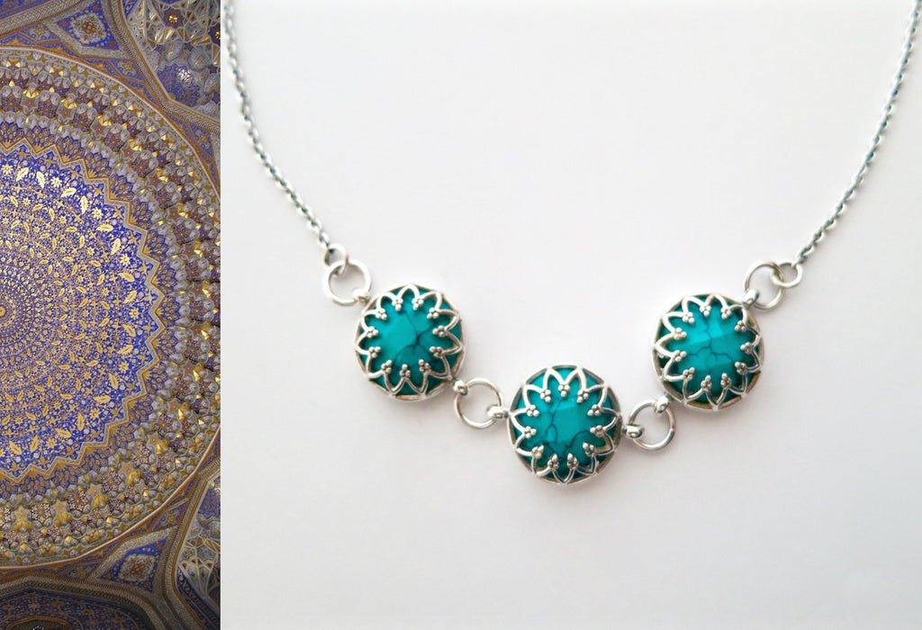 Stunning Samarkand round facetted turquoise trio necklace (PBS-1496-N) -  - 1