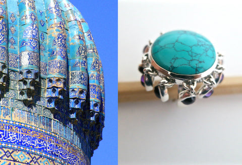 Playful & whimsical Samarkand round turquoise ring with amethyst fringe (PBS-7294-R)