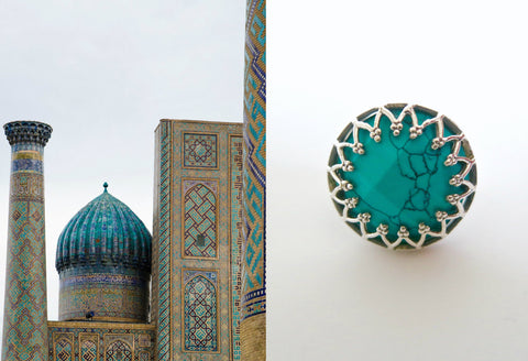 Elegant, Samarkand round faceted turquoise ring with wire lace framework