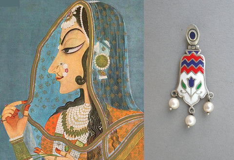 Gorgeous Mughal inspired 3 pearl drop enamel earrings (PB-1510-ER)