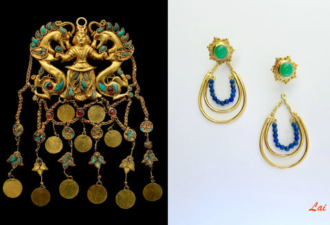 Stunning, gold plated, gem accented earrings that can be worn 2-ways