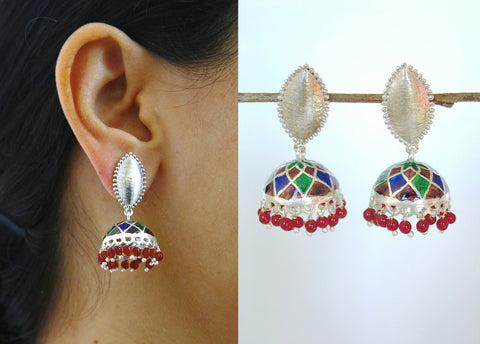 Gorgeous Nathdwara enamel jhumkas with navette brush finish tops (PB-7818-ER)  Earrings Sterling silver handcrafted jewellery. 925 pure silver jewellery. Earrings, nose pins, rings, necklaces, cufflinks, pendants, jhumkas, gold plated, bidri, gemstone jewellery. Handmade in India, fair trade, artisan jewellery.