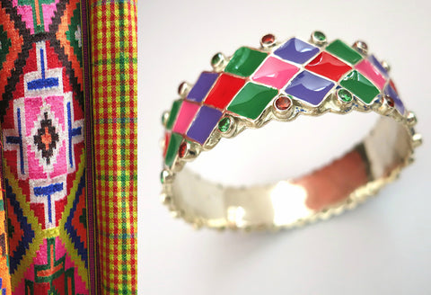 Colorful, conversation-starter, broad bangle with gems and hand-painted enamel work