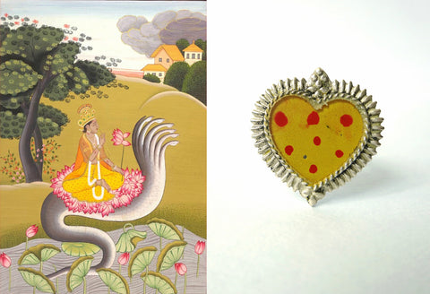 Beautiful Himachali glass top enamel work heart shape ring (PB-9407-R)