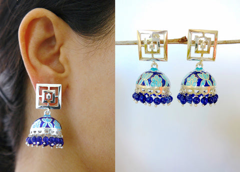 Contemporary Nathdwara enamel jhumkas with square cut out top (PB-7819-ER)  Earrings Sterling silver handcrafted jewellery. 925 pure silver jewellery. Earrings, nose pins, rings, necklaces, cufflinks, pendants, jhumkas, gold plated, bidri, gemstone jewellery. Handmade in India, fair trade, artisan jewellery.